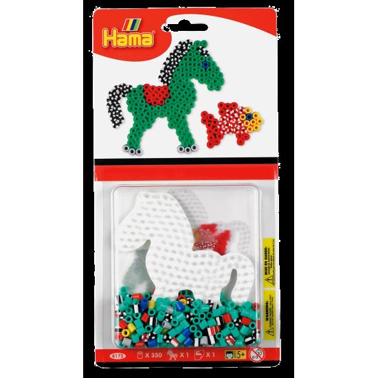 Hama Beads,  Set 350 piezas + placa pequeña + papel