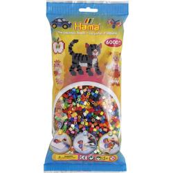 Hama Beads,  BOLSA GIGANTE 50 COLORES, de 6000 piezas MIDI
