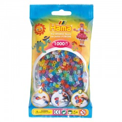Hama Beads, MIDI, mix 8 colores traslucidos , 1000  piezas, glitter