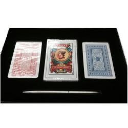 Barajas KIT  Naipes, cartas,  (2 ingles + 1 Español, + lapiz +estuche)