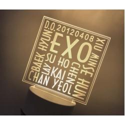 Lampara Efecto 3d,  EXO Kpop