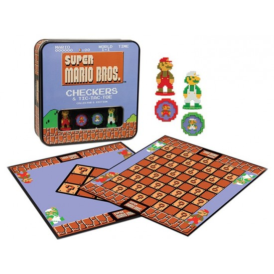 Juego de Mesa, Super MARIO , juegos de damas Combo Tic -Tac- Toe , CHECKERS